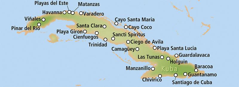 Kuba Karte Rundreise.Kuba Cosmic Hochzeitsreisen